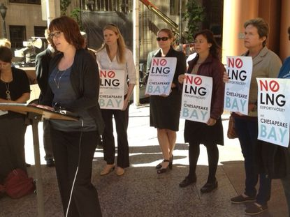 Representatives of environmental and community groups opposed to LNG export terminal at Cove Point speak to press outside Maryland Public Service Commission in Baltimore.
