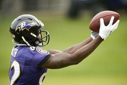 Wide receiver Torrey Smith hauls in a catch.