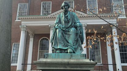 A statue of Cival War-era Supreme Court Chief Justice Roger Brooke Taney outside of the Maryland State House.