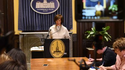 Mayor Catherine Pugh apologizes during a City Hall news conference to the University of Maryland Medical System for any negative light cast on that institution as a result of her book venture.