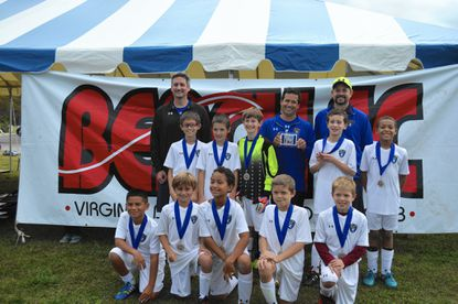 The SAC U10 United Blue squad poses together after going 4-0 at the Virginia Beach Columbus Day Tournament. Players pictured are: (Top row) Kyle Shao, Andrew Gaiano, Cooper Strohman, Russell Minni and Jason VanGennip. (Second row) Max Bezos, Ryan Capodanno, D.J. Anderson, Ryan Loetell and Luke Kudwa.