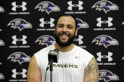 Nico Siragusa, the Ravens' fourth-round pick, takes questions on Friday afternoon.