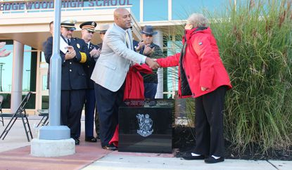 Memorial Stone honoring alumni who died in service to country, community dedicated at Edgewood High