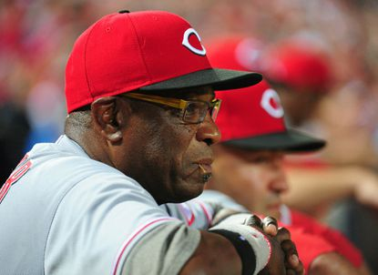 The Washington Nationals have hired veteran manager Dusty Baker, who is pictured as manager ofthe Cincinnati Reds on July 12, 2013, in Atlanta, Ga.
