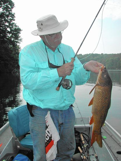 Harry Pippin and I had some banner days with carp on Prettyboy Reservoir using 8-weight fly tackle and hair and foam bugs.