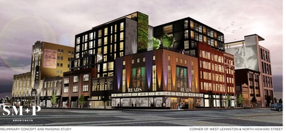 """A development team has been selected to redevelop the """"Superblock."""" This preliminary virtual rendering shows the corner of West Lexington and Howard Street."""