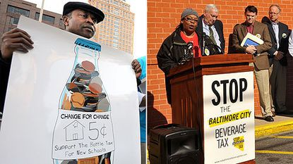 At a rally outside City Hall, left, proponents of an increase in Baltimore's bottle tax from 2 cents to 5 cents include the Rev. Calvin Keene of Memorial Baptist Church. At right, a rally opposed to the tax increase at the Bel-Garden Bi-Rite include Linda Ewing, an employee of the Coca-Cola plant on North Kresson Street.