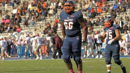Morgan State football player Joshua Miles (66) is participating in the NFL scouting combine this week.