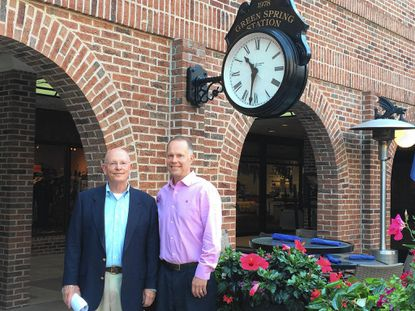 Father and son Tom Peddy and Ted Peddy own Green Spring Station. The Lutherville shopping center/office complex was developed by Tom and a real estate partner on land adjacent to the Green Spring Inn, which Tom's father bought in 1936.