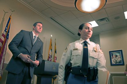 Baltimore County Executive Johnny Olszewski follows county police chief Melissa Hyatt following a press conference to announce a comprehensive public safety plan for the county Wed., Jan. 22, 2020. (Karl Merton Ferron/Baltimore Sun Staff)