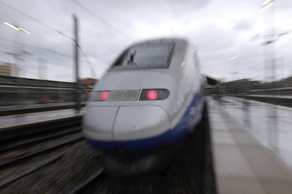 A TGV high-speed train at the Saint-Charles train station, in Marseille, southern France. File. (AP Photo/Claude Paris, file)