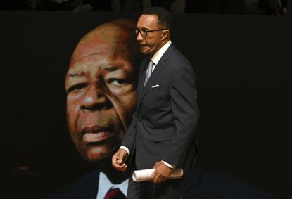 Kweisi Mfume, Morgan State University's board chairman, walks to the stage to speak at the funeral for U.S. Rep. Elijah Cummings at the New Psalmist Baptist Church on Oct. 25. He is widely regarded as a possible candidate for the vacant 7th District seat.