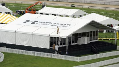 The Under Armour corporate tent at the Preakness Stakes is shown in this 2010 file photo.