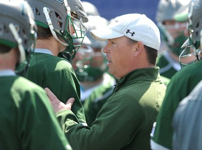 Loyola coach Charley Toomey during a timeout in the second quarter. The visiting Loyola Greyhounds defeated the Navy Midshipmen, 7-6, in overtime, in men's college lacrosse Saturday at Navy-Marine Corps Memorial Stadium.