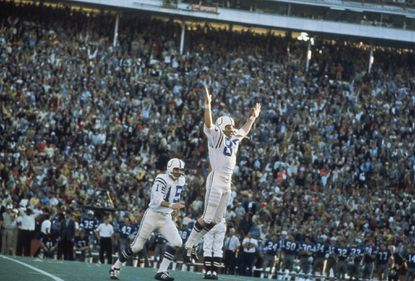 Rookie kicker Jim O'Brien celebrates his game-winning kick in Super Bowl V for the Colts.
