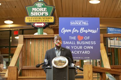 Howard County Executive Calvin Ball announced the first round of HoCo RISE business relief grants Wednesday, July 15, 2020, at a news conference.
