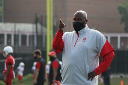 Maryland football coach Mike Locksley points during the team's practice on Sept. 18, 2020.