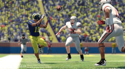 """The focus of """"NCAA Football 13"""" seems to have veered toward single-player quests for stardom, away from the magic of team rivalries and traditions like Ohio State-Michigan."""