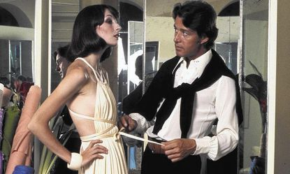 """Halston,"" the documentary film opening at the Music Box Theatre, is about the American fashion designer Roy Halston (right, with model/actress Anjelica Huston)."