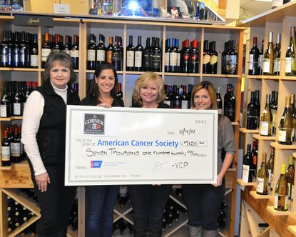 Vanessa's Corner Pub presented a check to the American Cancer Society after the restaurant hosted its annual Ladies Night Out event, raising $7,120. Pictured, from left: Mary Ford-Naill, Making Strides Against Breast Cancer committee member; Jessica Fouche; Vanessa Chrisafis, owner of Vanessa's Corner Pub; and Katelyn Mock, specialist, Making Strides Against Breast Cancer/American Cancer Society.