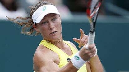Samantha Stosur hits a return during a match against Sesil Karatantchevaat the Family Circle Cup in Charleston, S.C., on April 7, 2015.