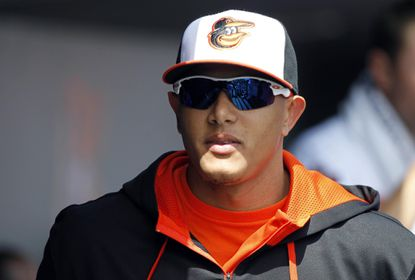 Orioles third baseman Manny Machado in the dugout during spring training.