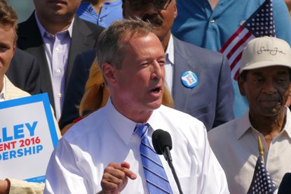 Former Baltimore mayor and Maryland governor Martin O'Malley, announcing his decision to run for the democratic nomination for the presidency, during his announcement at Federal Hill.