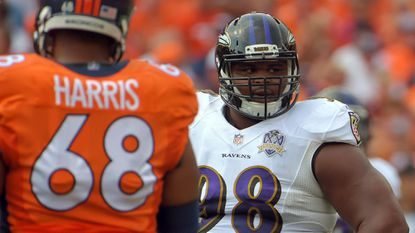 Ravens defensive tackle Brandon Williams (98) looks on after being called for encroachment against the Denver Broncos. Despite that call, Williams was perhaps the Ravens' best player in the game.