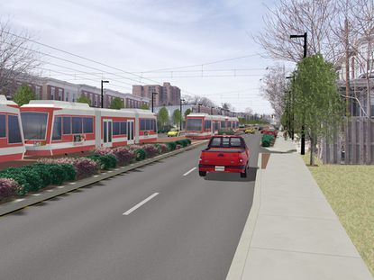 A rendering of the Red Line along Edmondson Avenue that Gov. Larry Hogan killed five years ago. It would have run from western Baltimore County to East Baltimore.