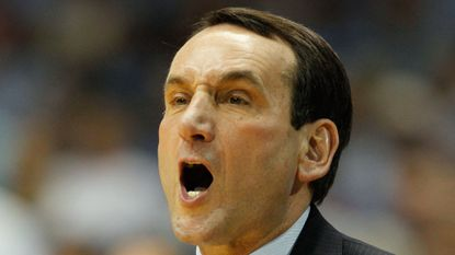 CHAPEL HILL, NC - FEBRUARY 08: Head coach Mike Krzyzewski of the Duke Blue Devils yells to his team against the North Carolina Tar Heels during their game at the Dean Smith Center on February 8, 2012 in Chapel Hill, North Carolina. (Photo by Streeter Lecka/Getty Images) ORG XMIT: 136473627