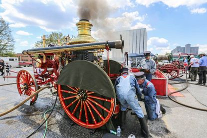 Lutherville, MD - May 2, 2015 - A steam show took place at The Fire Museum of Maryland feature antique fire engines. (Kaitlin Newman for The Baltimore Sun)