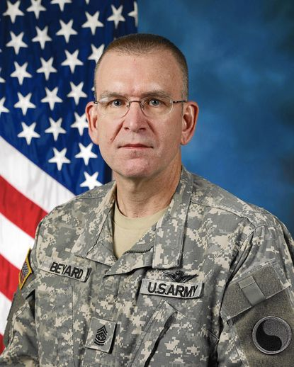 The attached photo is a submitted photo, dated March 26, 2009. It isCommand Sgt. Maj. Thomas B. Beyard of Westminster