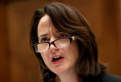 """Avril Haines, former deputy national security adviser and former deputy director of the Central Intelligence Agency, testifies before the House Foreign Affairs Committee in January 2020 in Washington on the topic of """"From Sanctions to the Soleimani Strike to Escalation: Evaluating the Administration's Iran Policy."""""""