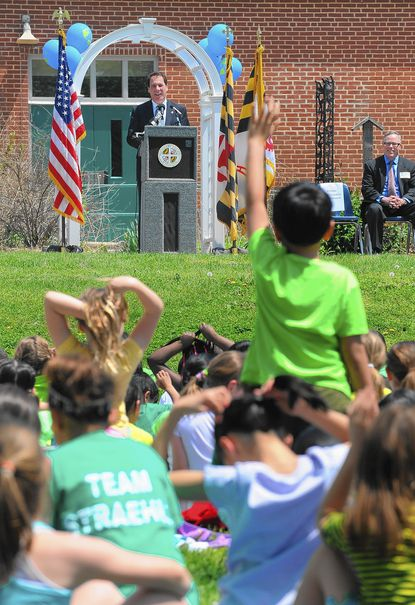 """Baltimore County Executive Kevin Kamenetz, top left, and Baltimore County schools Superintendent Dallas Dance, not pictured, announced the launch of the """"Team BCPS Clean Green 15 Litter Challenge"""" at Lutherville Laboratory Elementary School on Thursday, May 8."""