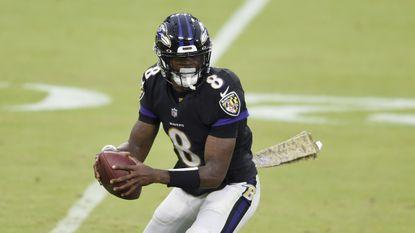 Baltimore quarterback Lamar Jackson during overtime of an NFL football game, Sunday, Nov. 22, 2020, in Baltimore. The Titans won 30-24 in overtime. (AP Photo/Gail Burton)