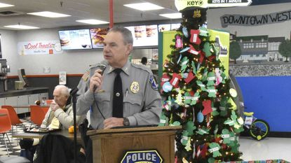 Westminster Police Chief Jeff Spaulding introduces the Shop with a Cop Angel Tree at Walmart in Westminster on Nov. 21.