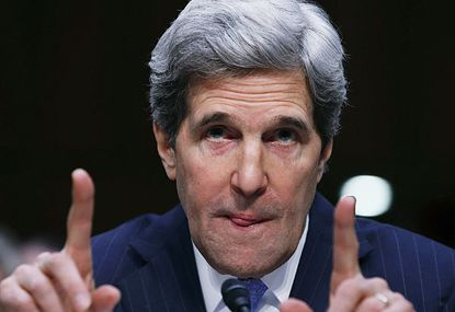 U.S. Sen. John Kerry (D-MA) speaks during a Senate Foreign Relations Committee confirmation hearing in Washington, D.C.