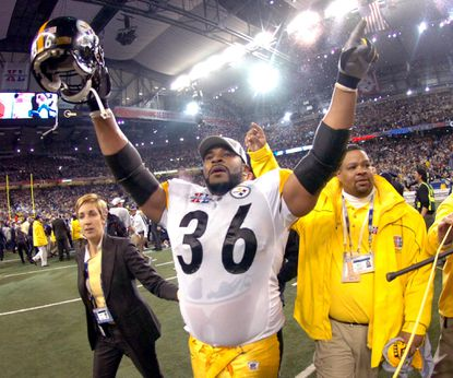 Pittsburgh Steelers running back Jerome Bettis celebrates a victory over the Seattle Seahawks in Super Bowl XL.