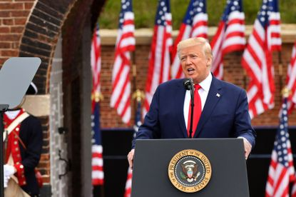 President Donald Trump gives a Memorial Day speech at Fort McHenry. where about 200 socially distanced spectators inside the fort, mostly wearing masks, listened. May 25, 2020