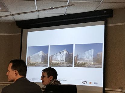 University of Maryland Medical Center officials presented three designs Thursday for the new cancer center addition to the hospital that will remake its face fronting Greene Street in downtown Baltimore.