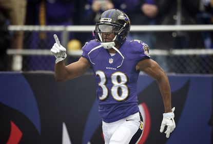 Ravens defensive back Rashaan Melvin jogs onto the field before a game against the Cleveland Browns.