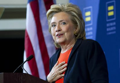 Democratic presidential candidate Hillary Rodham Clinton gestures as she speaks at Human Rights Campaign gathering in Washington, Saturday, Oct. 3, 2015. ( AP Photo/Jose Luis Magana) ORG XMIT: DCJL117