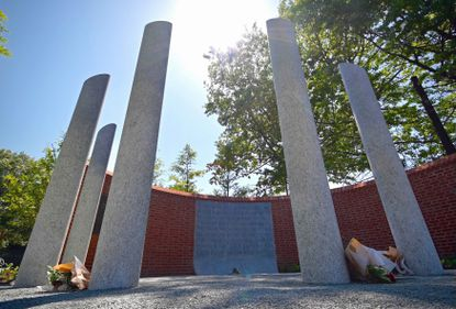 The Guardians of the First Amendment Memorial, with its inscription of The First Amendment, and five columns representing the Capital Gazette journalists killed three years ago, was dedicated Monday. The pillars honor Wendi Winters, Rob Hiaasen, Gerald Fischman and John McNamara and Rebecca Smith.