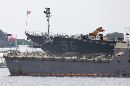 The USS John S. McCain (DDG 56) destroyer is moored in a dock at the Yokosuka Naval Base on June 01, 2019 in Yokosuka, Japan.
