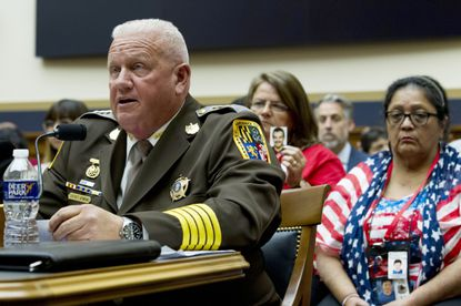 Frederick County Sheriff Charles A. Jenkins testifies before the House Judiciary subcommittee hearing on use of ICE detention at Capitol Hill, on Thursday, Sept. 26, 2019, in Washington. (AP Photo/Jose Luis Magana)