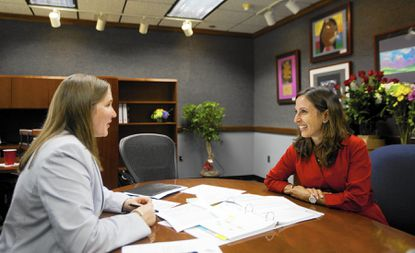 Howard County Public School System Director of Communications Rebecca Amani-Dove, right, is leaving the school district for a new job. Here, she is pictured with Superintendent Renee Foose, left, on Foose's first day on the job.
