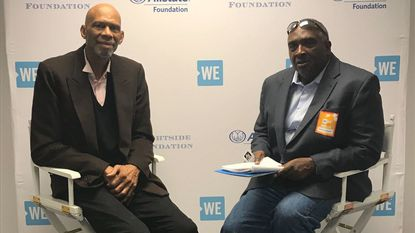 Basketball great Kareem Abdul-Jabbar, left, sits down with Baltimore Sun columnist Mike Preston at WE Day Community: Baltimore, on Wednesday.