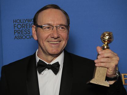 Kevin Spacey backstage at the 72nd Annual Golden Globe Awards show at the Beverly Hilton Hotel in Beverly Hills, Calif., on Jan. 11.
