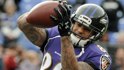 Ravens wide receiver Steve Smith warms up before the game against the Cleveland Browns at M&T Bank Stadium.