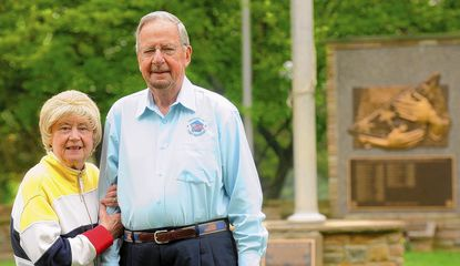 Alan Walden and his wife Jeannie at the Circle of the Immortals at Dulaney Valley Memorial Gardens in Timonium on Wednesday, May 14. Alan Walden served in the U.S. Army and has emceed the garden's annual Memorial Day ceremony for 25 years.